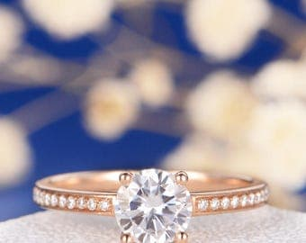 Moissanite Engagement Ring Rose Gold Wedding Ring Bridal Solitaire Women Promise Proposal Anniversary Half Eternity Ring Unique Minimalist