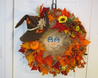 Fall Wreath, Scarecrow Wreath, Home Decor, Front Door Wreath, Autumn Wreath,Outdoor Wreath, Wreath,Grapevine Wreath,Burlap Indoor Wreath