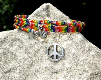 Peace and Love Beaded Bracelet - Rainbow  Beaded Bracelet - Beaded Wrap Bracelet - Memory Wire Bracelet  -  Wrap Bracelet Beaded -