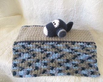 Airplane blue camo lovey for baby/toddler