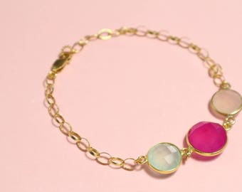 Candy Colour Bracelet - Chalcedony Bracelet - Gold Vermeil - Colourful Gemstone Jewellery - Pink Jewelry