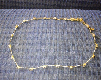 Vintage gold ladies necklace 1960/70s gold plated cubic zirconia vintage