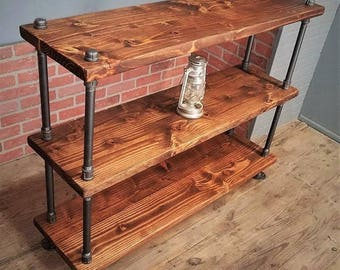 Rustic Industrial Shelf, Solid Wood & Steel Pipes, Rustic Bookshelf, Metal Wood Console Table, Steampunk Shelves