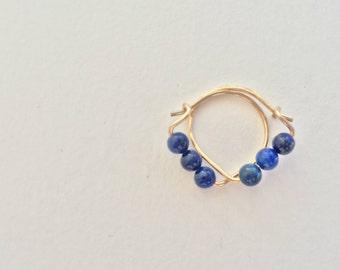 Lapis lazuli beaded hoops - Semiprecious beaded hoop earrings - lapis lazuli earrings - gold/rosegold/silver - hoops
