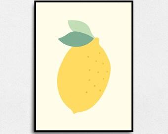Lemon poster, lemon kitchen decor, lemon print, lemon art print, lemon minimalist, modern art print, lemon kitchen print, yellow lemon