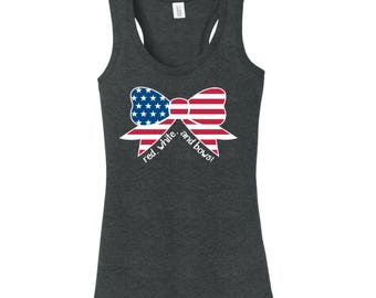 Red, White, and Bows Triblend Tank