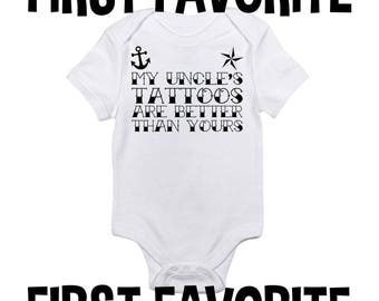 Uncle Tattoos Baby Onesie Shirt Bodysuit Brother Tattoo Funny Cute Pregnancy Announcement Newborn - 24M Infant Unique Cute Funny