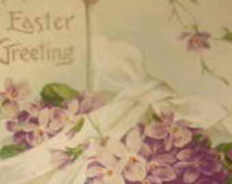 Pretty Vintage Embossed Floral Postcard (Violets)