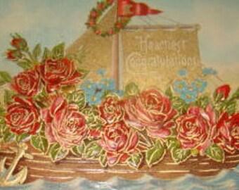 Nice Embossed Vintage Floral/Fantasy Postcard (Boat Filled With Roses)