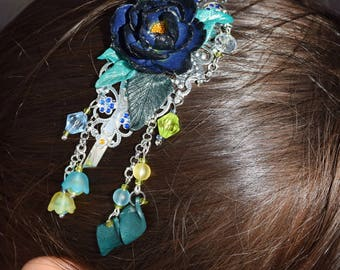 Romantic headband and dark blue flower
