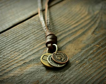 Leather Necklace Men Vintage Leather Necklace Retro Pendent Necklace Adjustable Necklace Man Real  Lather Necklace