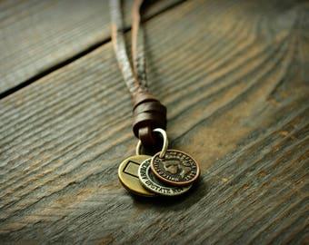Leather Necklace Men Vintage Leather Necklace Retro Pendent Necklace