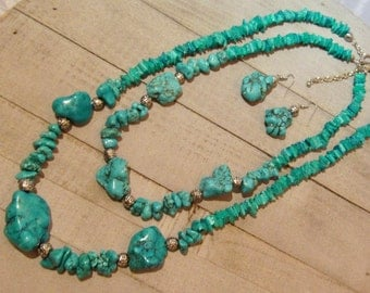 Turquoise Necklace, Chunky Turquoise Necklace Set, Statement Necklace Set, Gift for Her, Gifts Under 30