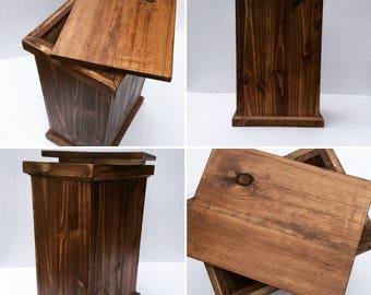 Rustic stool, storage, island seating, kitchen bar,  custom barstool, storage bin, wood container, kitchen storage, wood plant stand