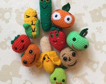 Crochet fruits and vegetables,play food set, crochet food, kitchen toy, eco baby toy, crochet fruit, crochet vegetable, fake food, fruit set
