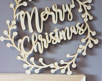 Out door wood Christmas Wreath, merry christmas
