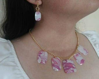 Set of necklace and earrings, recycling, reused of pet plastic bottle and fabric, eco-friendly