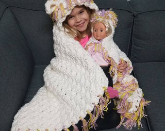 Unicorn me and my doll blanket, doll and child blanket, matching blanket, unicorn blanket, hooded blanket