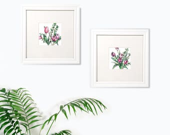 Tulip watercolor print Set of 2, watercolor art, flowers watercolor, wall art print, Tulip art print, spring art, home decor