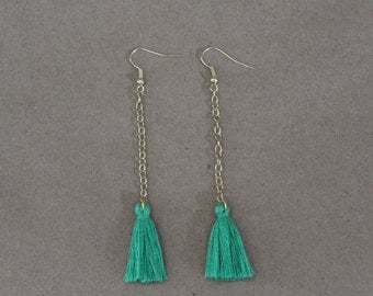 Green Drop Tassel Earring