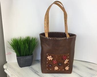 Leather Tote // Leather Bag Handmade in Las Vegas // Full-Grain Cowhide Horween Leather // Market Bag // Shopping Bag Medium Size