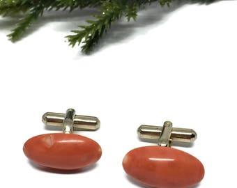 Orange Oval Glass Cabochon Cufflinks