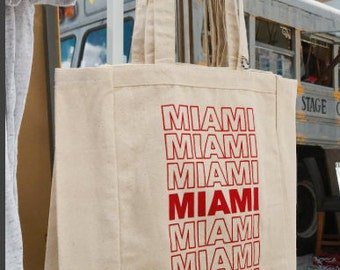 Miami Reusable Canvas Tote, Reusable Bag, Canvas Tote, Cotton Tote, Recycle, Shopping Tote