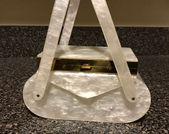 Rare Vintage Wilardy White Marbled Lucite Compact Purse
