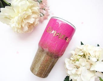 Hot Pink and Gold Ombre Mixed Glitter Tumbler - Glitter Tumbler - Gold Tumbler - Ombre Tumbler - Glitter Yeti - Hot Pink Tumbler - Yeti