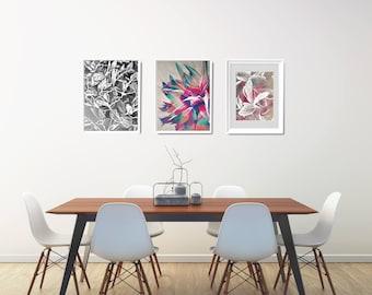 3 Floral Art Prints Set, Modern Wall Arranging, Flower Painting Art Print Set, Modern Printable Wall Decor Set, Modern Gallery Wall Set