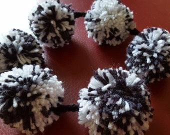 Handmade, Black/White Garland/Lei, 6 Black and White Pom poms, Black yarn, Designed, Gift, Decoraton, Car shows, Festivals, Camper, hair dec