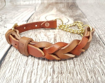 Braided Leather Chain Martingale/half-check Dog Collar