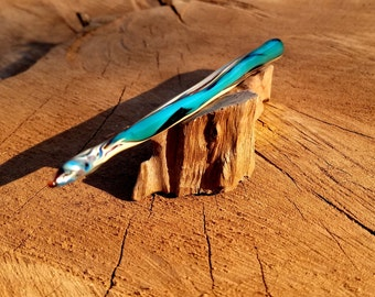 Turquoise Wood Wizard wand glass dabber