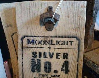 Bottle opener board rustic reclaimed wood - Moonshine motif stencil