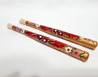 Wooden mouthpiece, Golden cigarette holder, fits slim cigarettes, Painted red flower mouthpiece, Unique cigarette holder, Lady holder