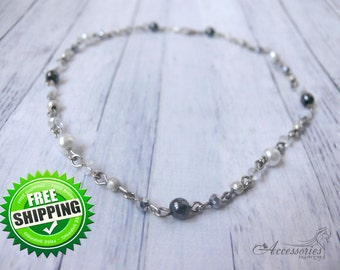 White Silver Hematite Crystal Choker Natural Hematite jewelry Gemstone Bib Bubble One strand Christmas Holiday gift idea Necklace Choker