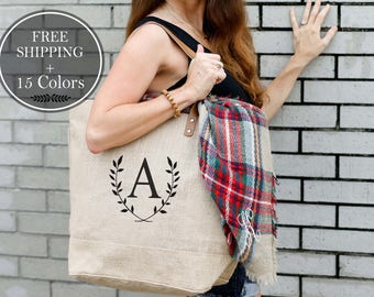 Valentine's Gift for Friend, Bridesmaid Gifts, Weekender Bag Women, Monogram Tote Bag, Bridesmaid Totes, Bachelorette Party, Beach Bag