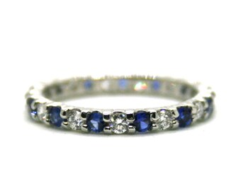 Alternating Diamond & Sapphire 18k White Gold Wedding Band - Anniversary Band Ring