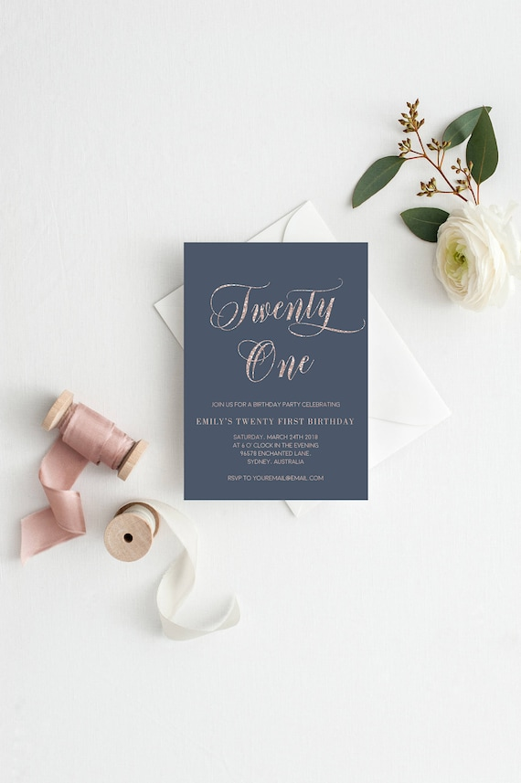 Rose Gold 21st Birthday Invitation Template Glitter Printable