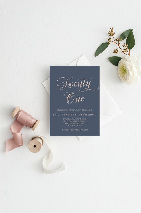 Rose Gold 21st Birthday Invitation Template, Glitter, Printable ...
