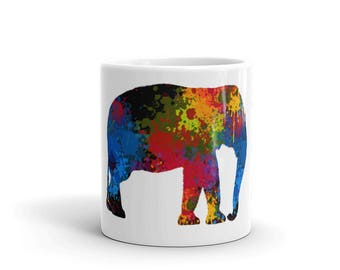 Elephant Mug - Elephant Art Mug - Mandala Rainbow Colorful Mug - Elephant Mug for Moms Dads Men Women