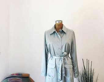 Rare Vintage 1990's Satin Baby Blue Trench Coat Patch Pockets Women's Size XL