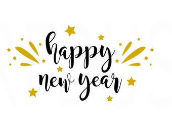 Happy New Year SVG, Crown SVG, New Year SVG, fireworks New Year, New Years Eve File, Easy Cricut Cutting File, year 2018 svg,  stars 2018