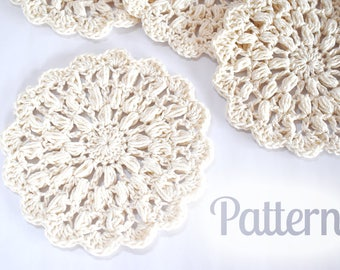 Pattern - Althea Crochet Coaster - Beige Coaster - Crochet Placemat Beginner Crochet Pattern White Lace PDF Small Doily Kitchen Rustic