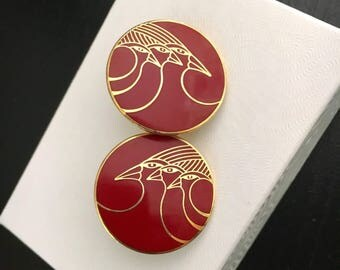 """Vintage Laurel Burch earrings, red earrings with birds signed Celestial Birds"""", enamel burgundy earrings, pop art, bird earrings"""