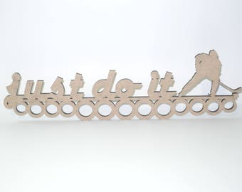Wooden medal holder, Just do it  Hockey room decor, Ready to decorate Wooden decor