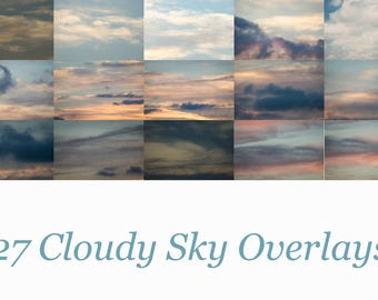 Cloudy Skies Overlays Pack 2 Total of 27 Different Digital JPEG Sky Overlays for Photoshop