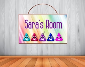 Personalized Rainbow Poop Emoji Sign, Poop Emoji Personalized Wooden Name Sign, Unicorn Poop Emoji Decor, Unicorn Poop Emoji Birthday