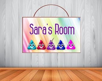 Personalized Rainbow Poop Emoji Sign, Poop Emoji Personalized Wooden Name Sign, Unicorn Poop Emoji Decor, Unicorn Poop Emoji Birthday