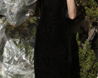 90s Vintage Black BurnOut Velvet Midi Dress / XS-S